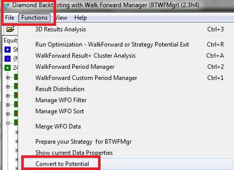 Diamond Backtesting with Walk Forward Manager