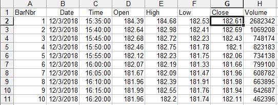 Export Bar Data from NinjaTrader to a spreadsheet (CSV) by